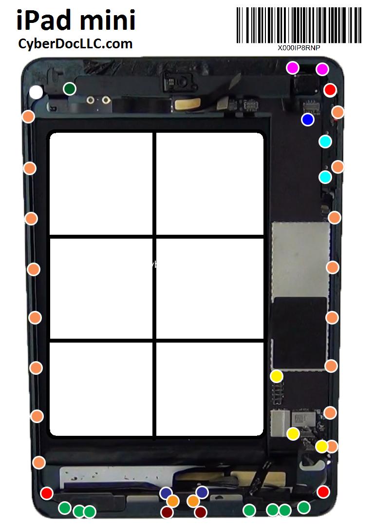 Ipad Mini Screw Chart Mat Magnetic Cyberdoc Lcd Screen Repair Tool Iphone 4 Screws Diagram