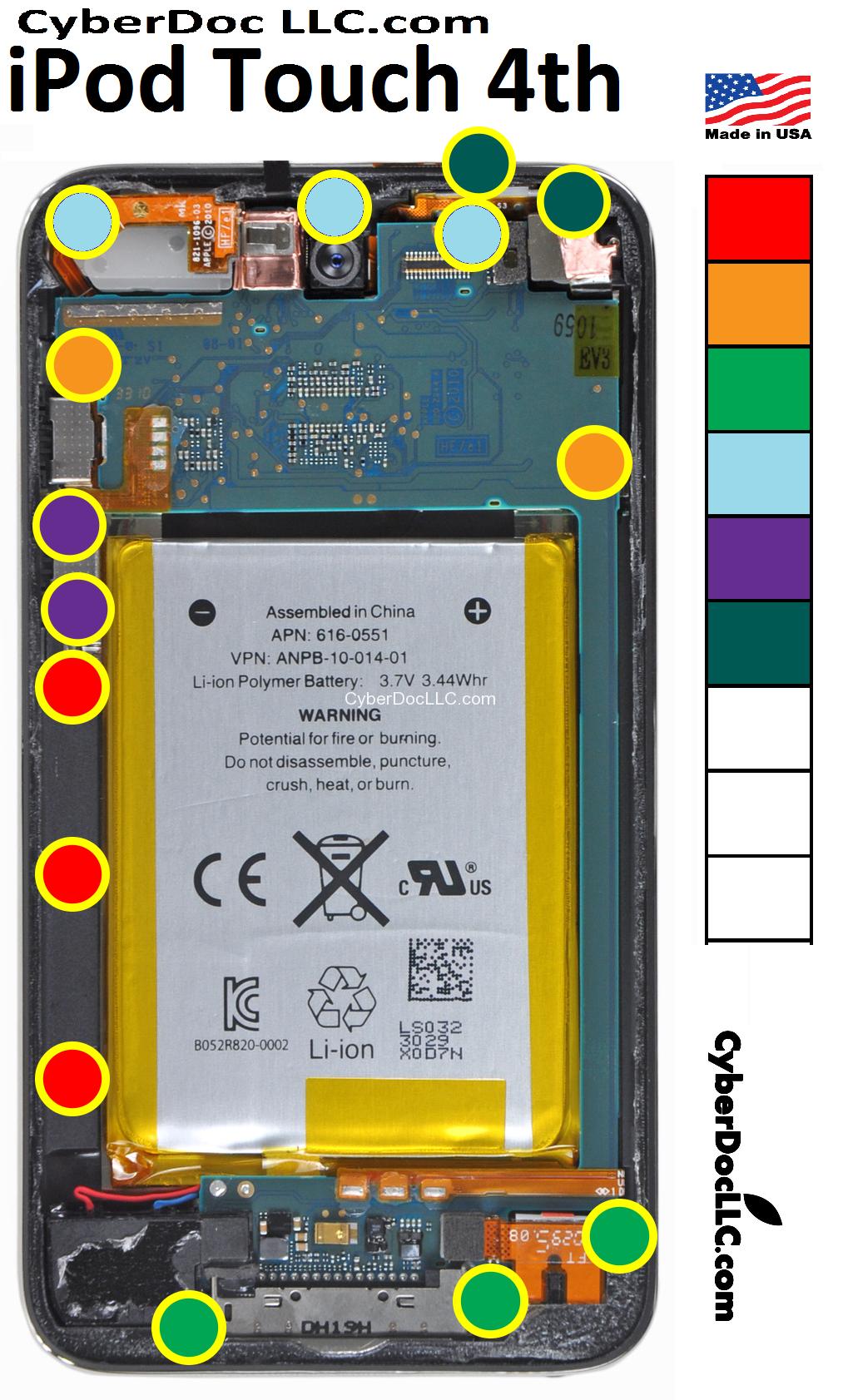 Ipod 4th Screw Chart Mat Magnetic Cyberdoc Lcd Screen Repair Tool Iphone 4 Screws Diagram