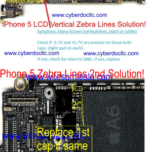 iPhone 5 LCD Vertical Zebra lines on screen 4X Capacitors set Solution  repair kit C149, C156, C170 , C154 | CyberDocLLC | iPhone and Apple  Products