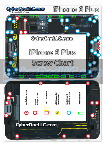 iPhone 6 Plus Magnetic Screw Chart Mat | CyberDocLLC | iPhone and Apple  Products Hardware Repair Solutions