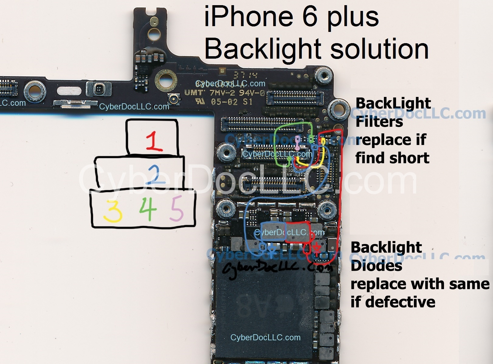 iPhone 6 Plus Backlight repair kit 2diode 6filters for dim screen and no  backlight | CyberDocLLC | iPhone and Apple Products Hardware Repair  Solutions